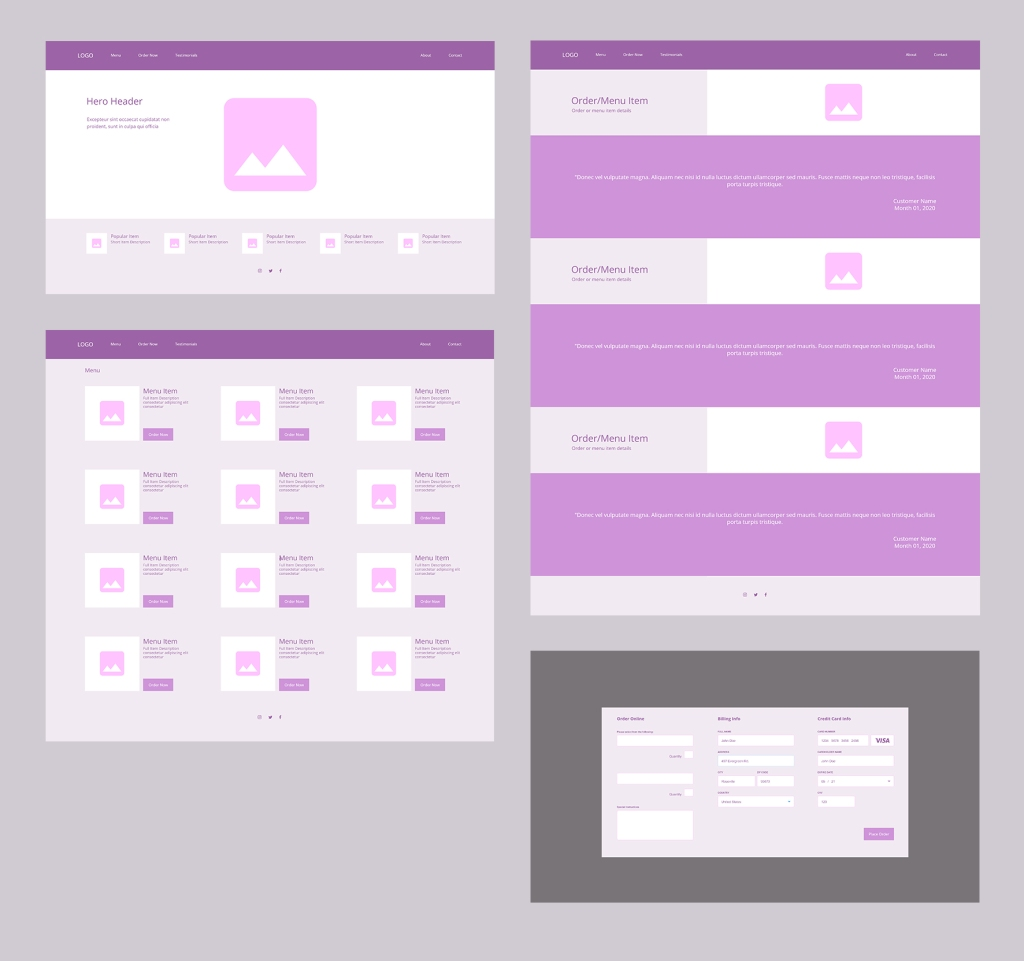 Four wireframes; landing page, menu page, customer testimonial page, order online overlay popup modal.
