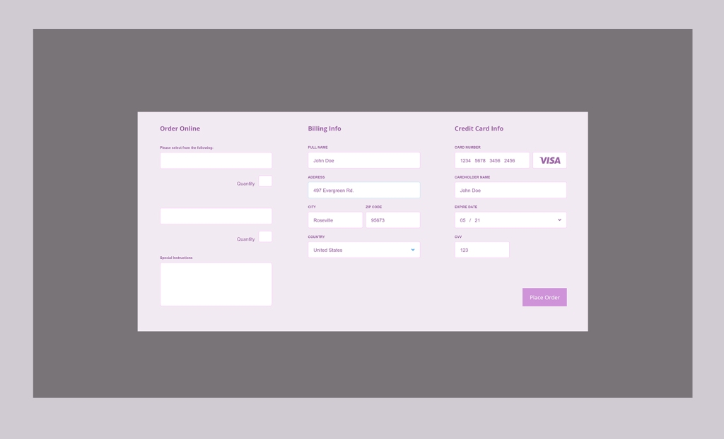 close up of order online popup modal