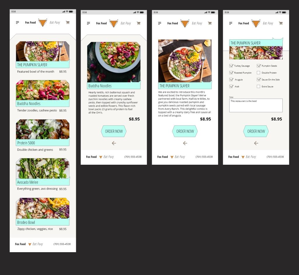 High fidelity mockups of Fox Food delivery app - menu, item detail, order screen