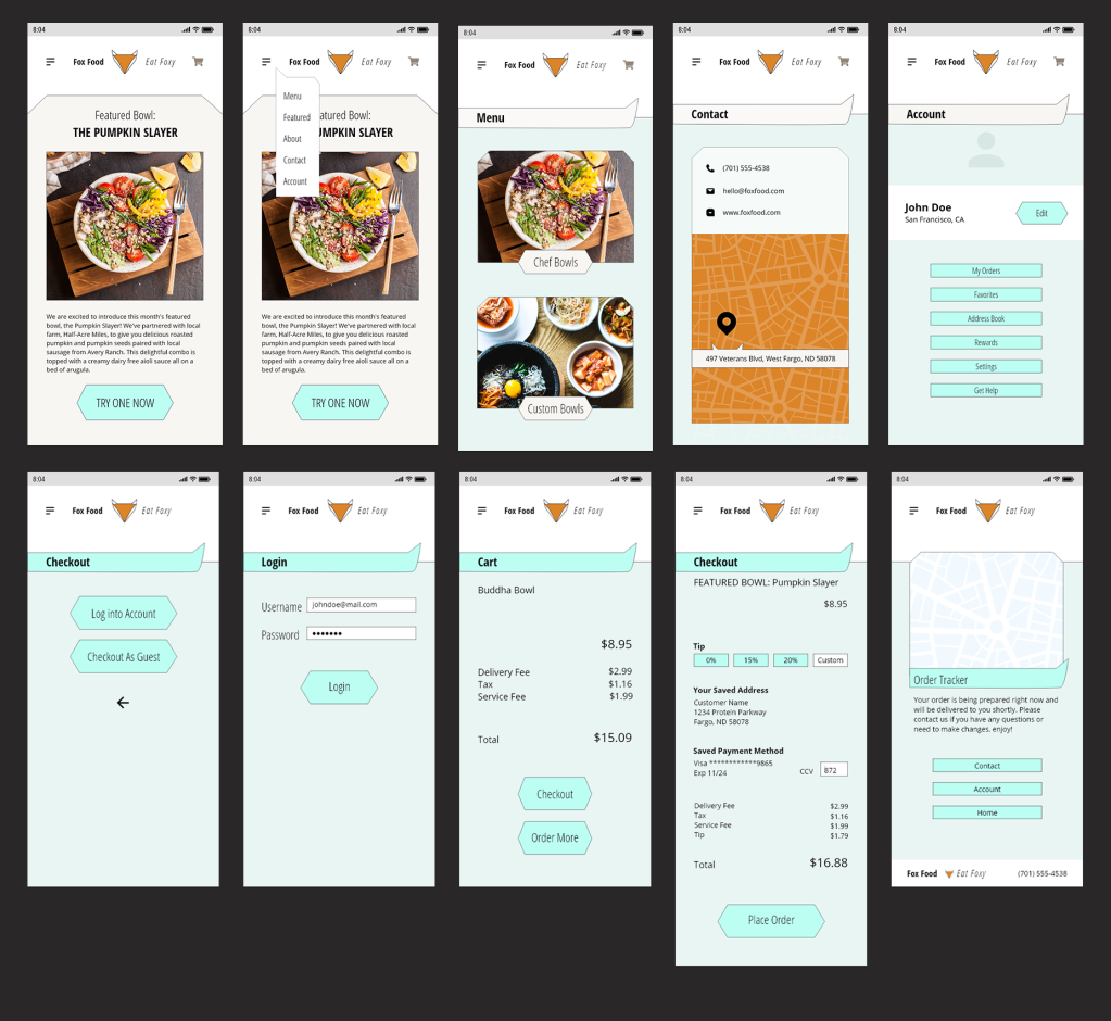 more menu screens, landing page, account page, login process, shopping cart and checkout app screens