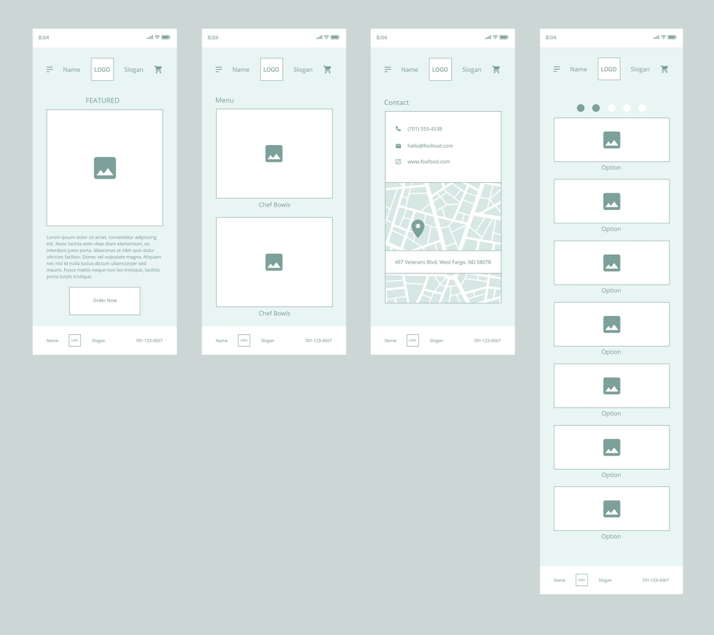 Wireframes showing landing page, menu page, contact page and expanded restaurant menu.