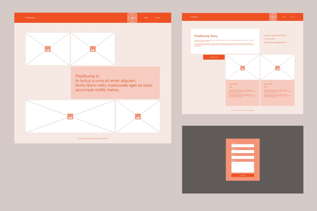 Wireframes for potential design client site, landing page, about/artist page, contact pop up modal
